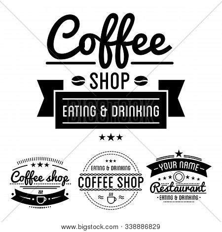 Coffee Shop Logos With Steamy Cup Linear Icon And Text