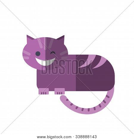Vector Flat Illustration Of Smiling Cheshire Cat In Magenta Pink Colors Isolated On White. Cheshire