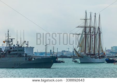 Cadiz, Spain - Apr 01: Spanish Navy Training Ship, Juan Sebastian De Elcano Setting Sail On The 83rd