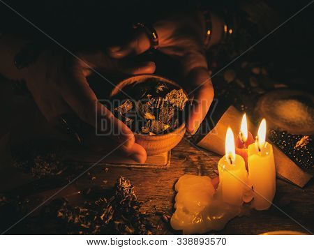 In The Hands Of The Witches Roots From Plants For Divination. The Light From The Candles On The Old
