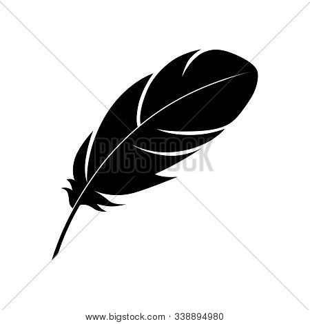 Feather Graphic Icon. Feather Of A Bird Sign Isolated On White Background. Vector Illustration