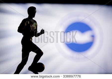 Brighton, England, July. 1. 2019: Brighton Hove Albion Football Club Logo, Premier League, England.