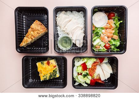 Healthy Food Delivery. Take Away Food For Diet. Fitness Nutrition, Balanced Proteins, Fats And Carbo