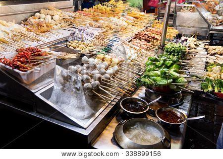 Array Of Popular Local Delicacy Named Lok Lok At Jalan Alor, Popular Tourist Destination In Kuala Lu