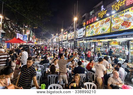 Kuala Lumpur, Malaysia November 25: Jalan Alor Is Malaysia Popular Tourist Location For Good Local S