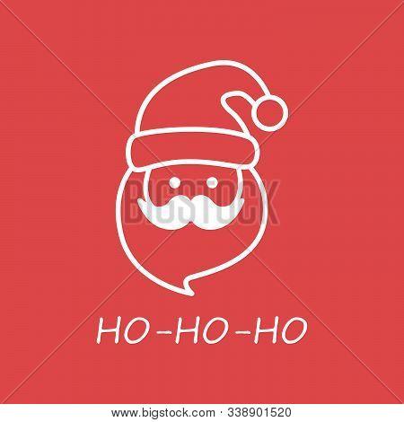 Illustration Of Santa Claus Hat, Glasses, Mustache And Beard Singing Ho Ho Ho Wishing Merry Christma