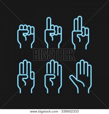 Neon Hand Count. Neon Finger And Number Isolated On Black Background. Vector Set Of Nonverbal Sign.