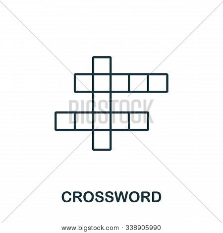 Crossword Icon From Hobbies Collection. Simple Line Element Crossword Symbol For Templates, Web Desi