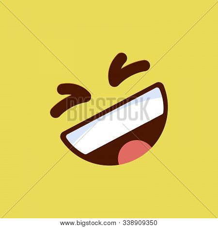 Emoticon Laughing, Emoji Smile Symbol, Isolated On Yellow Background, Vector Illustration.