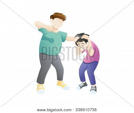Bullying Or Humiliation At School Or College. Bullying Children Angry Boy Rampage Hitting Him Friend
