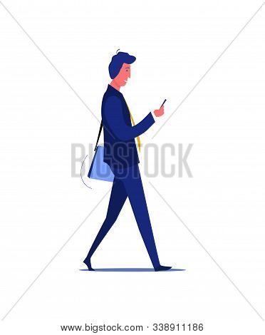 Busy Workaholic In Suit With Smartphone. Busy Person Flat Vector Illustration. Active Life Style, Wo