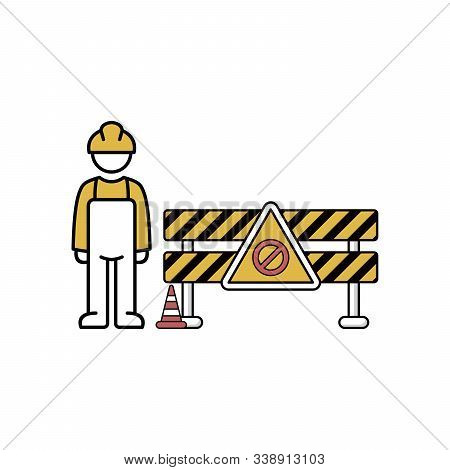 Under Construction Barrier, Warning Sign And Traffic Cone.