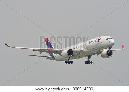 Saigon, Vietnam - May 11, 2019. Latam Brazil Airbus A350-900 (operated By Qatar) Landing At Tan Son