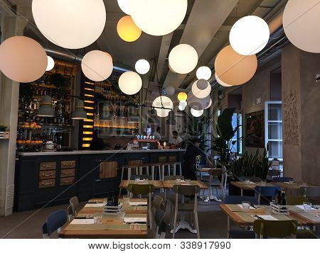 Rome, Italy - Oct 17, 2018. Interior Of Luxury Coffee Shop In Rome, Italy. Rome Is The Fourth Most P