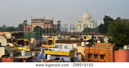 Aerial View Of Taj Mahal And Agra City