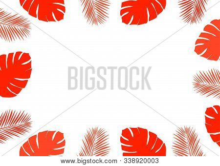 Vector Illustration Of Palm Leaves Frame. Abstract Nature Background.