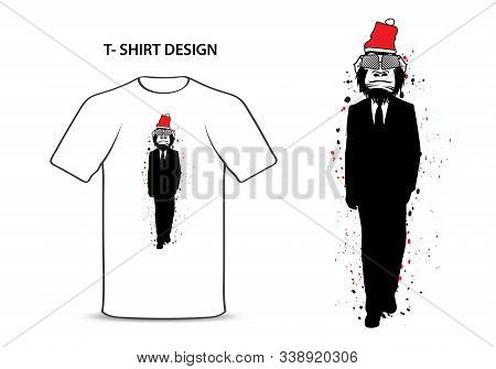 Gorilla In A Suit With Red Hat Vector Illustration, Monkey Bodyguard Cartoon, Chimpanzees Character,