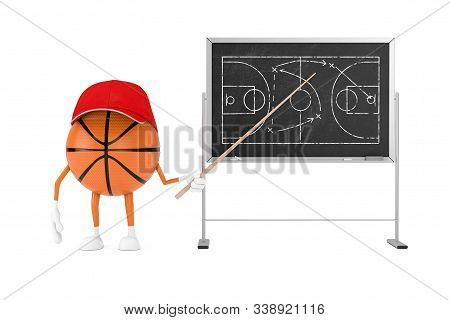 Basketball Tactics Concept. Cute Cartoon Toy Basketball Ball Sports Mascot Person Character With Poi