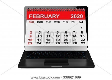 2020 Year Calendar. February Calendar Over Laptop Screen On A White Background. 3d Rendering
