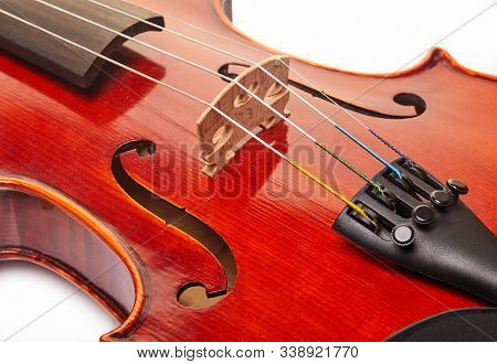 Close Up Shot Of A Violin, Very Soft Def Of Field. Detail Of Violin.
