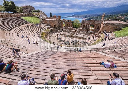 Taormina, Italy - May 5, 2019: View On The Stands Of Greek Theatre In Historic Part Of Taormina City