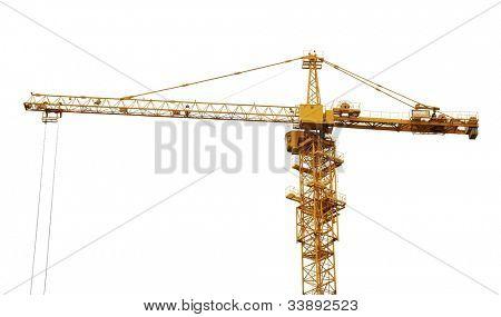 yellow hoisting crane isolate on white background