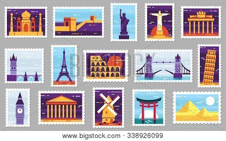 World Cities Post Stamps. Travel Postage Stamp Design, City Attractions Postcard And Town. Monumets