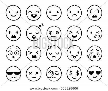 Hand Drawn Emoji. Doodle Emoticons, Smile Face Sketch And Grunge Ink Brush Emojis Doodles. Emotion M