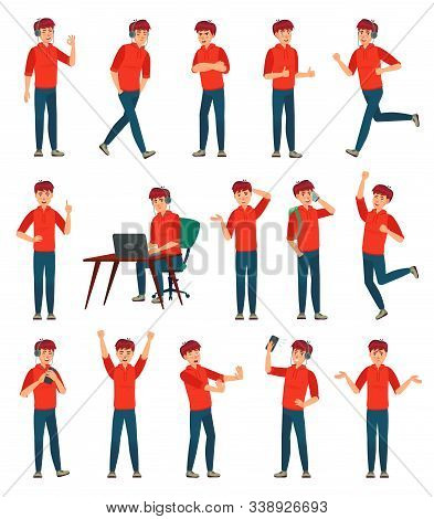 Cartoon Male Teenager Character. Teenage Boy In Different Poses And Actions. Student Man Action Pose