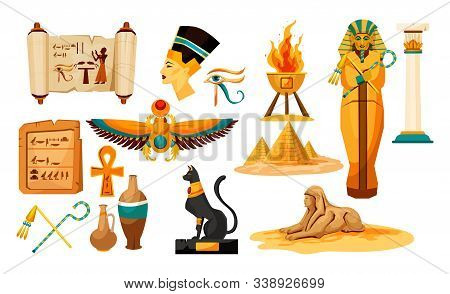 Set Of Isolated Egyptian Or Egypt Symbols Or Icon. Sphinx And Pharaoh Head, Pyramid, Papyrus With Hi