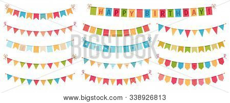 Party Bunting. Color Paper Triangular Flags Collected And Draped In Garlands, Happy Birthday Bunting