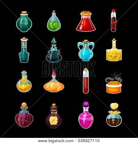 Set Of Isolated Glass Potions Or Magic Bottles With Snake Venom. Cartoon Love Elixir Or Alchemy Drin