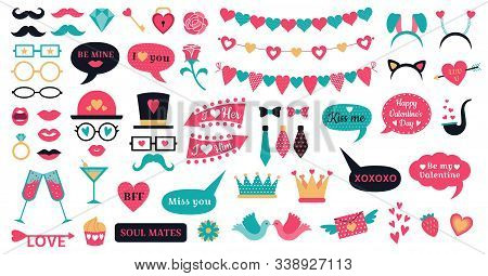 Photo Booth Props Valentine Day. Love Hearts Prop, Kiss Lips And Heart Shapes Bunting. 14 February O