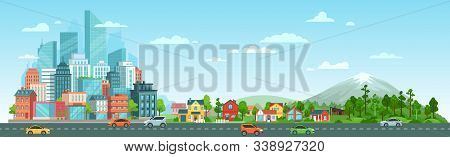 Urban Road With Cars Landscape. City Road Traffic, Big City Buildings, Suburban Houses And Wild Natu