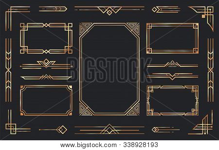 Golden Art Deco Ornaments. Arabic Antique Decorative Gold Border, Retro Geometric Ornamental Frame A