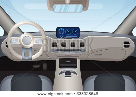 Luxurious Beige Car Interior Vector Illustration. Dashboard And Windshield View From Front Seats. Co