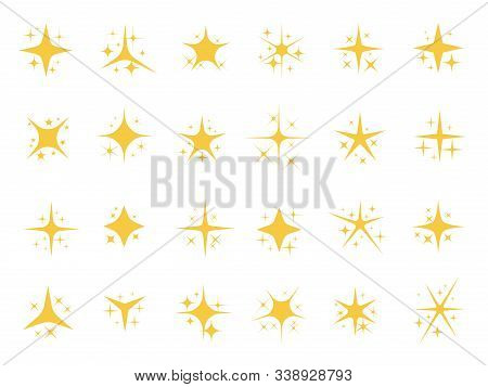 Sparkling Stars. Shiny Sparks, Glitter Light Star And Sparkle Elements. Gold Christmas Card Glow Sta