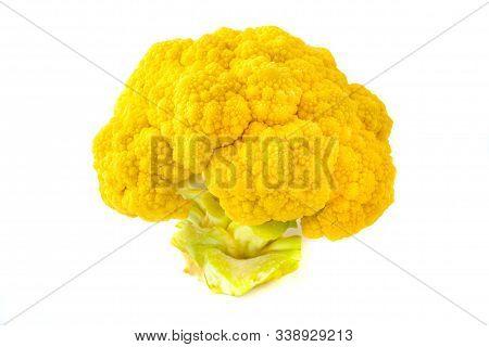 Orange Cauliflower (brassica Oleracea) On A White Background