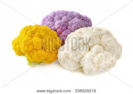 Orange, Purple And White Cauliflowers On A White Background