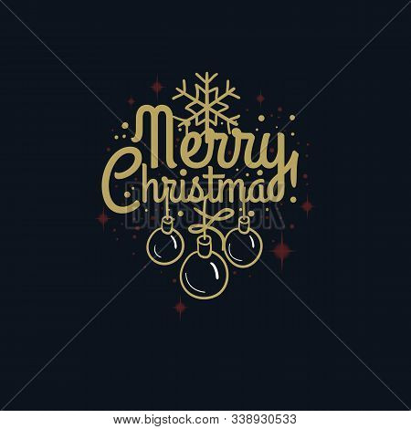 Merry Christmas And Happy New Year Vector Design With Snowflake And Embellishment.