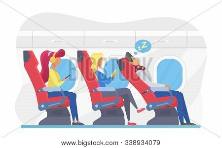 Airplane Passengers In Economy Class Flat Vector Illustration. Plane Cabin Interior With Travellers