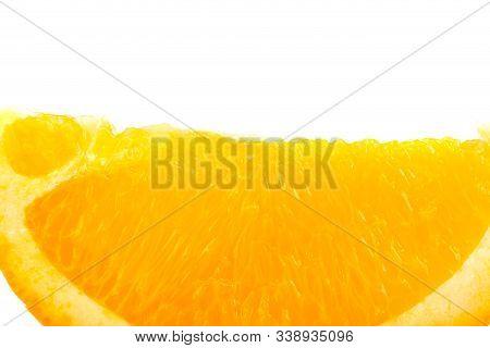 Close Up View Of Fresh Juicy Orange Lobule Isolated On White