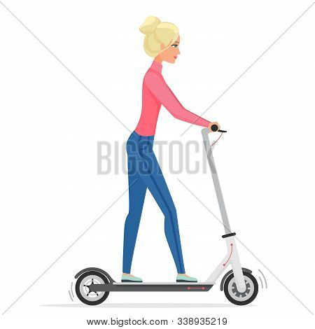 Woman On Electric Scooter Flat Vector Illustration. Female Cartoon Character Riding Eco Friendly Cit