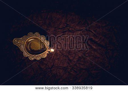 Diwali Traditional Diya Lamp On Floor Background Flat Lay
