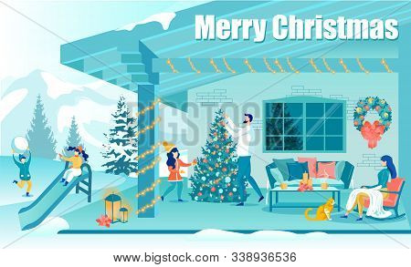 Happy Family At Home Engaged In Xmas Celebration. Merry Christmas Flat Greeting Poster. Children Pla