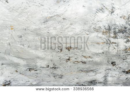 Dirty Old Grey Cement Wall Texture. Grey Concrete Beton Wall For Background. Grunge Concrete Wall Te