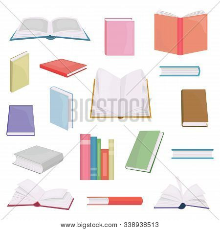 Flat books and reading documents. Open science textbook, encyclopedia and dictionary icons. Dictionary and literature textbook for school or home use illustration. poster