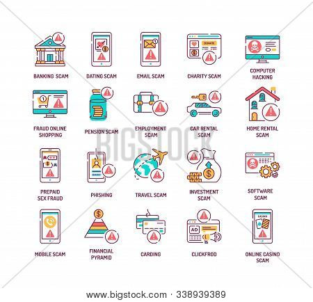 Scam Color Line Icons Set. A Fraudulent Scheme Performed By A Dishonest Individual, Group. Pictogram