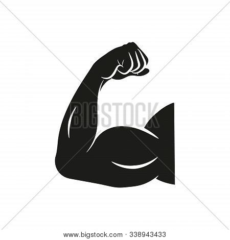 Biceps Flex Arm Vector Icon, Muscular Bodybuilder Pose. Isolated.