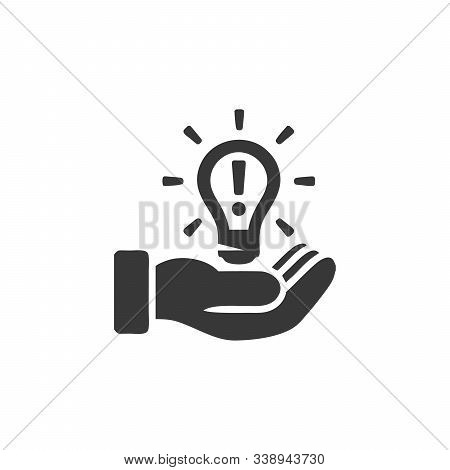 Light Bulb In Hand Icon. Idea Vector Icon. Light Bulb Icon. Stock Vector Illustration Isolated On Wh